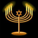 Gold Menorah with Burning Candles