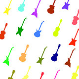 Set Colorful Silhouettes of Different Guitars