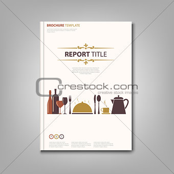 Brochures book or flyer with restaurant pattern template
