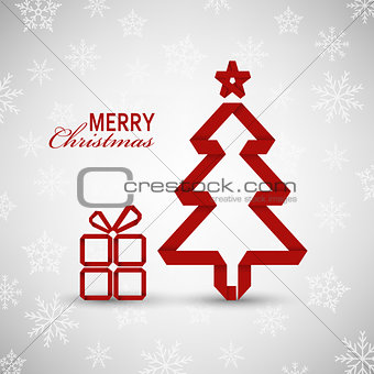 Christmas card with red tree and gift on snowy background