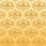 Seamless Damask Pattern Orange Background