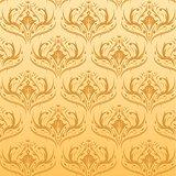 Seamless Damask Pattern Orange Background