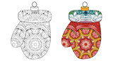 Zentangle stylized decorations. Hand Drawn lace vector illustration. Christmas toy for coloring and painted specimen