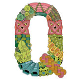 Letter Q zentangle. Vector decorative object