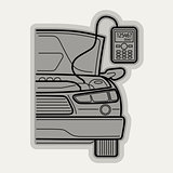 Line flat vector icon car parts