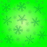 Snowflakes of different styles, background of shades of green, pattern