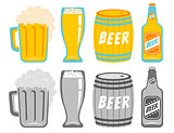 Vector set icons of a beer drinks.