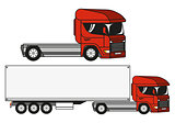 Two vector illustrations trucks.