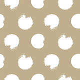 Gold and white bold rough dots seamless vector pattern.