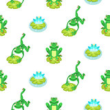 Frogs cartoon green seamless vector pattern.