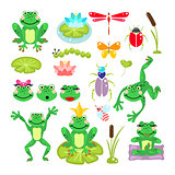 Frogs cartoon green clip-art vector set.