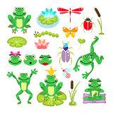 Frogs cartoon green clip-art vector set.