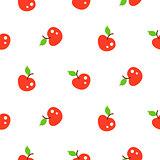 Bright summer juicy apple red cartoon seamless pattern.