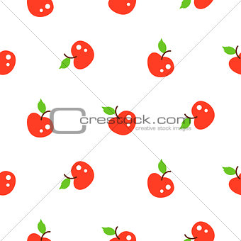Bright summer juicy apple red cartoon seamless pattern.
