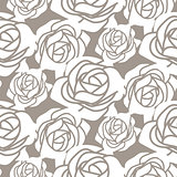 White bold roses stencil vector seamless pattern.
