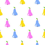 Bright summer juicy pear cartoon seamless pattern.