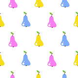 Bright summer juicy pear cartoon seamless pattern.
