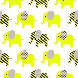 Cute elephant cartoon neon green baby seamless pattern.