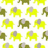 Cute elephant cartoon neon green baby seamless pattern.