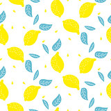 Bright summer juicy lemon cartoon seamless pattern.