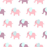 Cute elephant cartoon baby seamless pattern.