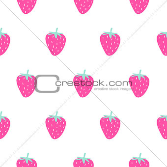 Bright pink strawberry summer juicy cartoon seamless pattern.