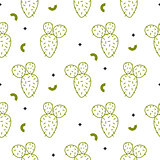 Cactus simple green line style vector pattern.