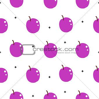Bright plum violet summer juicy cartoon seamless pattern.
