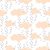 Light pink baby snowy clouds seamless vector pattern.