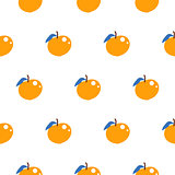 Bright summer juicy peach cartoon seamless pattern.