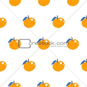Bright summer juicy peach cartoon seamless pattern.