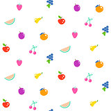 Bright summer juicy fruit cartoon seamless pattern.