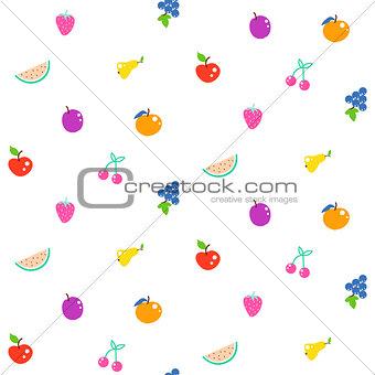 Bright summer juicy fruit cartoon seamless pattern.