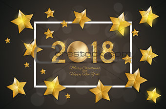 2018 Merry Christmas and New Year Background. Vector Illustration
