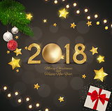 Merry Christmas and 2018 Happy New Year Background. Vector Illustration