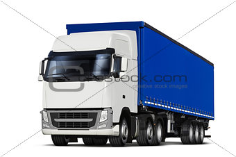 curtainsider semitrailer with canvas top