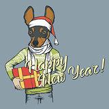 Dog Christmas vector illustration