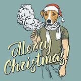 Dog vaping an electronic cigarette on Christmas