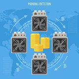 Mining crypto currency bitcoin concept