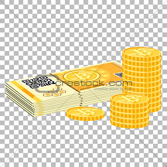 Crypto currency bitcoin banknotes and coins