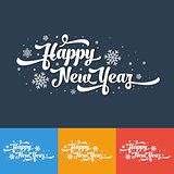 Vector text on colour background. Happy New Year lettering for invitation and greeting card, prints and posters. Calligraphic design