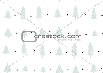 Hand drawn vector abstract fun Merry Christmas time cartoon freehand illustration seamless pattern with vintage retro Christmas trees forest isolated on white background