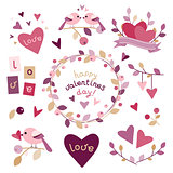 Set of design elements for Valentine's day