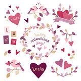Set of design elements for Valentine's day