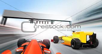 3D illustration of formula one cars