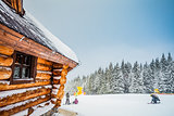 Winter vacation holiday wooden house in mountains
