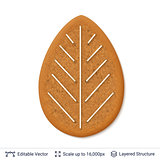 Gingerbread cookie isolated on white.