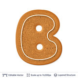 Gingerbread letter B isolated on white.