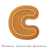 Gingerbread letter C isolated on white.