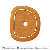 Gingerbread letter D isolated on white.